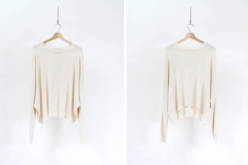 Cream sweater in loose cut
