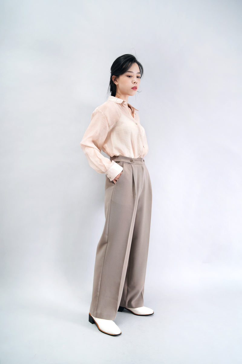 Dusty pink chifon sheer shirt