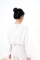 White Shirt in ribbon detail sleeves