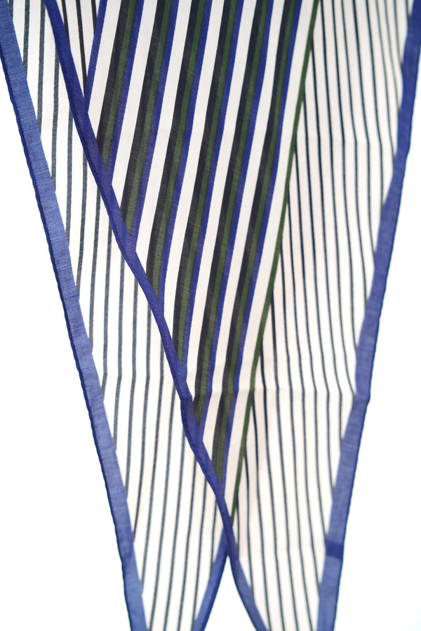 Blue stripe pattern scarf in diamond shape