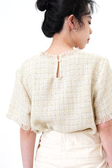 Ivory tone top in tweed style