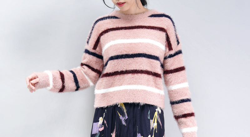 Pink stripes brushed sweater
