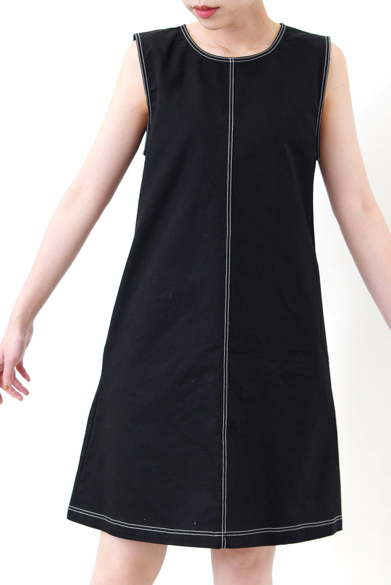 Black A cut midi dress outline stitching