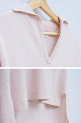 Light pink wool sweater in polo cut