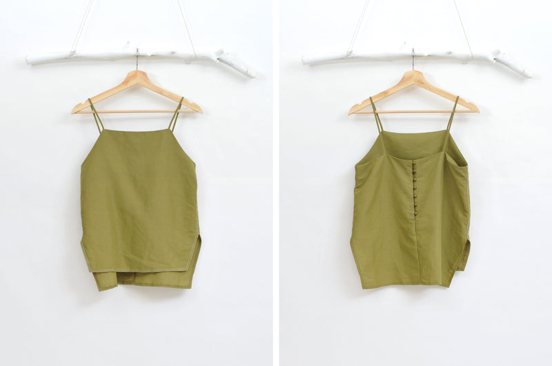 Green linen camisole w/ side vents