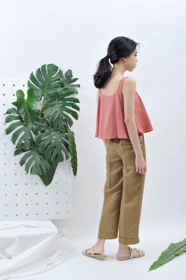 Saddle brown cuff trousers w/ elastic waist