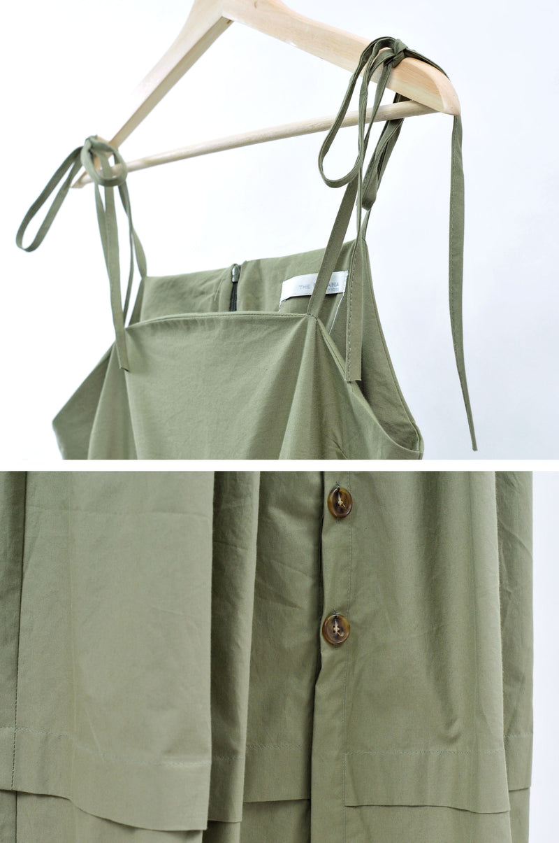 Khaki camisole dress w/ detail buttons