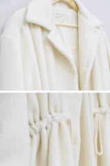 White textured coat w/ waist drawstring