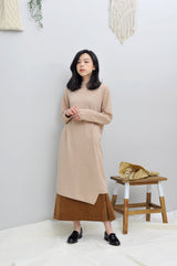 Beige knit dress in asymmetric hem