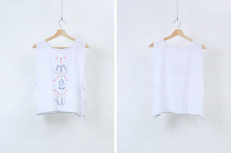 White embroidery vest w/ side strings