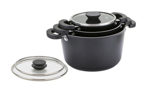 Prestige Kitchen Hacks 3pc Set - 16/20cm Saucepot & 24cm Stockpot