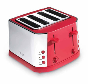 Stainless Steel 4 Slice Toaster - Red