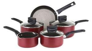 Prestige Safecook 5 Piece Aluminium Saucepan Set - Red