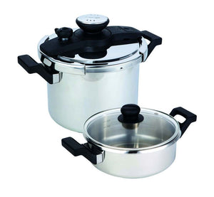 Prestige 4pc Set - 6l & 3l Ss Clip On Pc With Pc Lid & Glass Lid