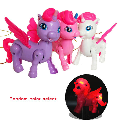 2019 Electronic Flashing Music Unicorn Pet Toys Funny Walking Robot Animal Toy With Rope Horse Doll For Kids Gifts 3 Colors