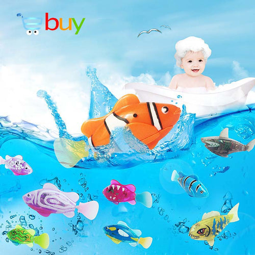 Flash Swimming Electronic Pet Fish Bath Toys for Children Kids Bathtub Battery Powered Swim Robotic for Fishing Tank Decoration