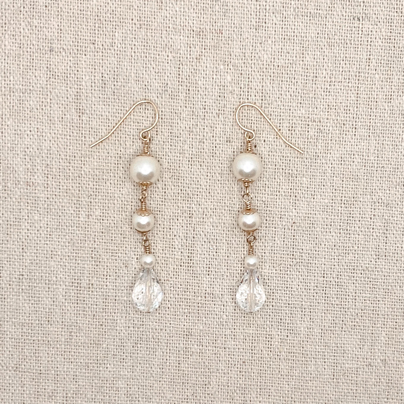 Sarah Walsh CE02 Gold Pearl with Crystal Earrings