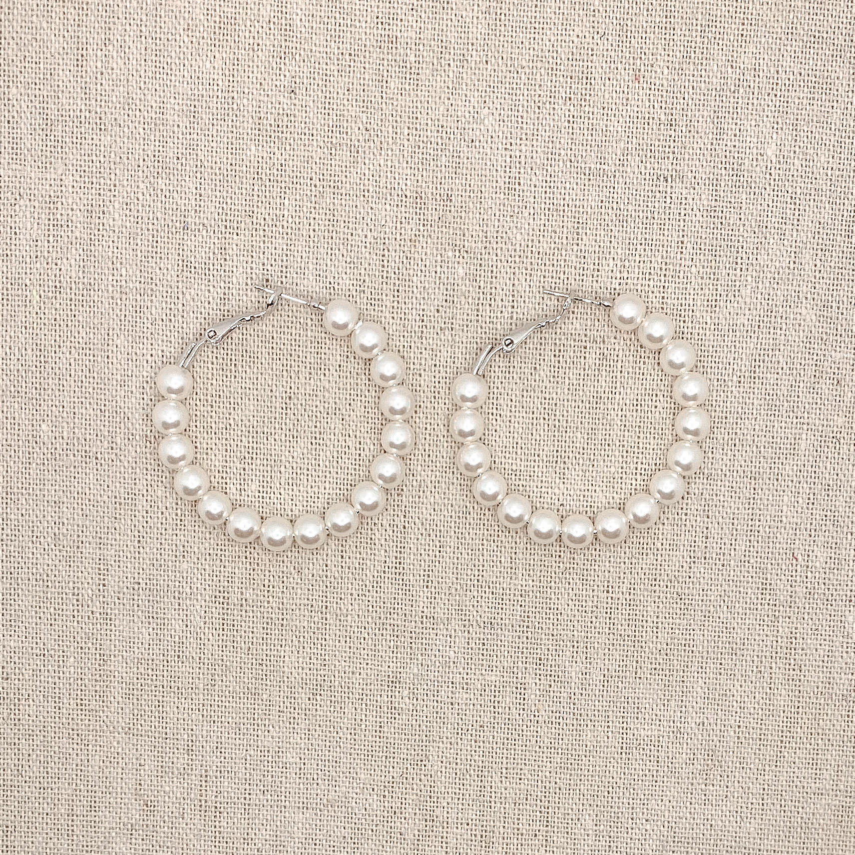 Pearl Hoop Earrings 45mm Silver