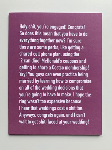 'Holy Shit, You're Engaged!...' Card