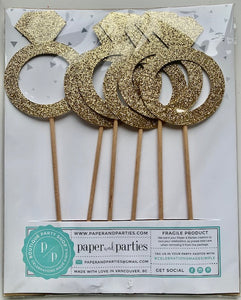 Pack of 6 Engagement Ring Cake Toppers