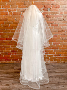 Two Tier Horsehair Edge Ivory Champagne Veil - Cordelia