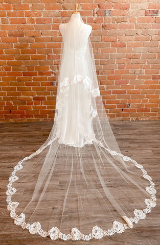 Two Tier Lace Edge Dark Ivory Veil- Erin