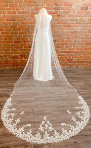 Lace Edge Ivory/Gold Veil - VL3028C