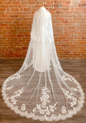 Cathedral Two Tier Lace Veil Ivory Astrid