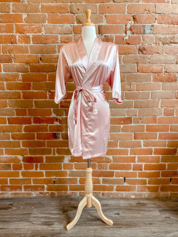 Satin Robe Dusty Rose S/M