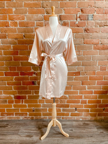 Satin Robe Light Rose Gold S/M