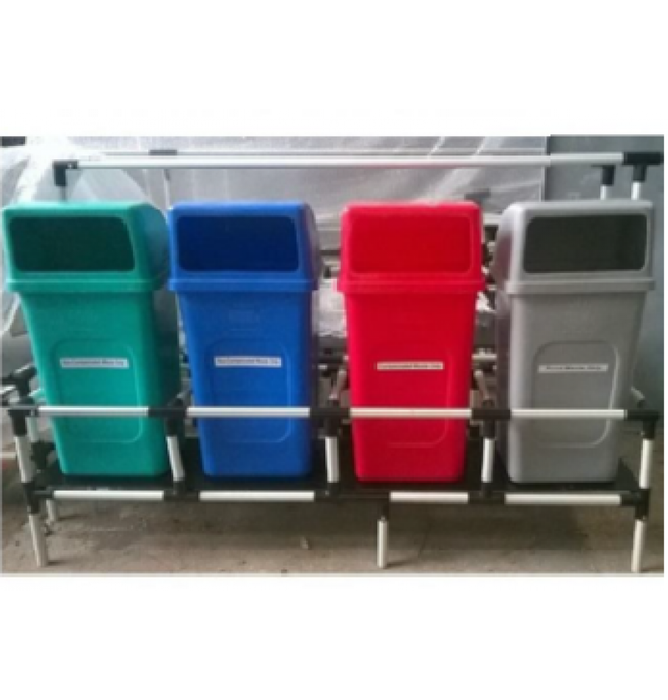 4 in 1 Plastic Dustbin with steel Rack