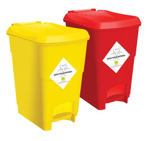 Plastic Waste Bin With Foot Pedal (Pack of 2)