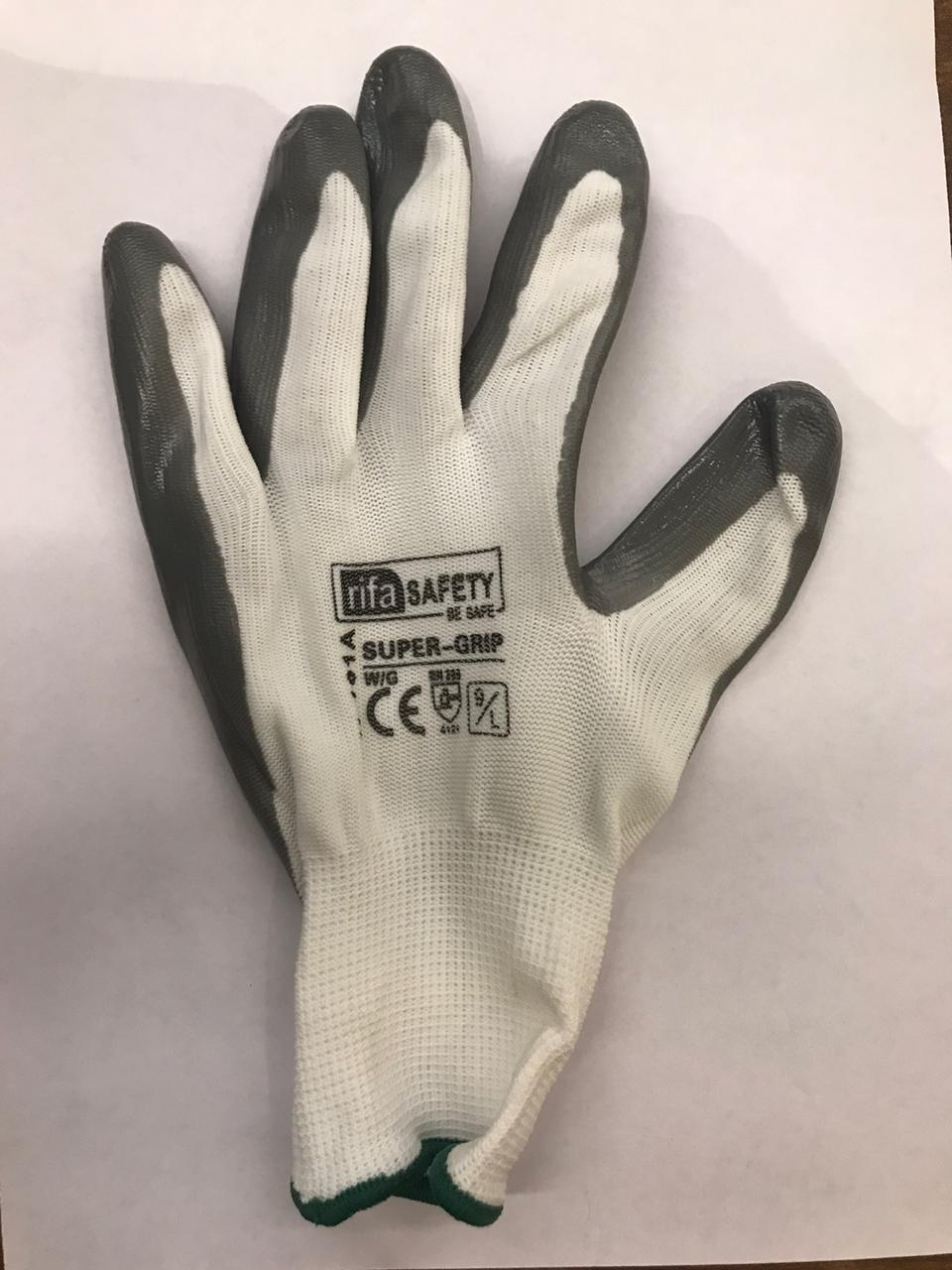 Safety Nylon cut resistant hand Gloves (N101A-H Grey-White L)