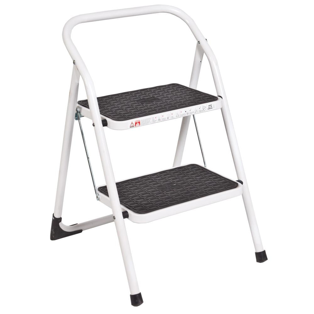 WHITE 2 STEP STOOL
