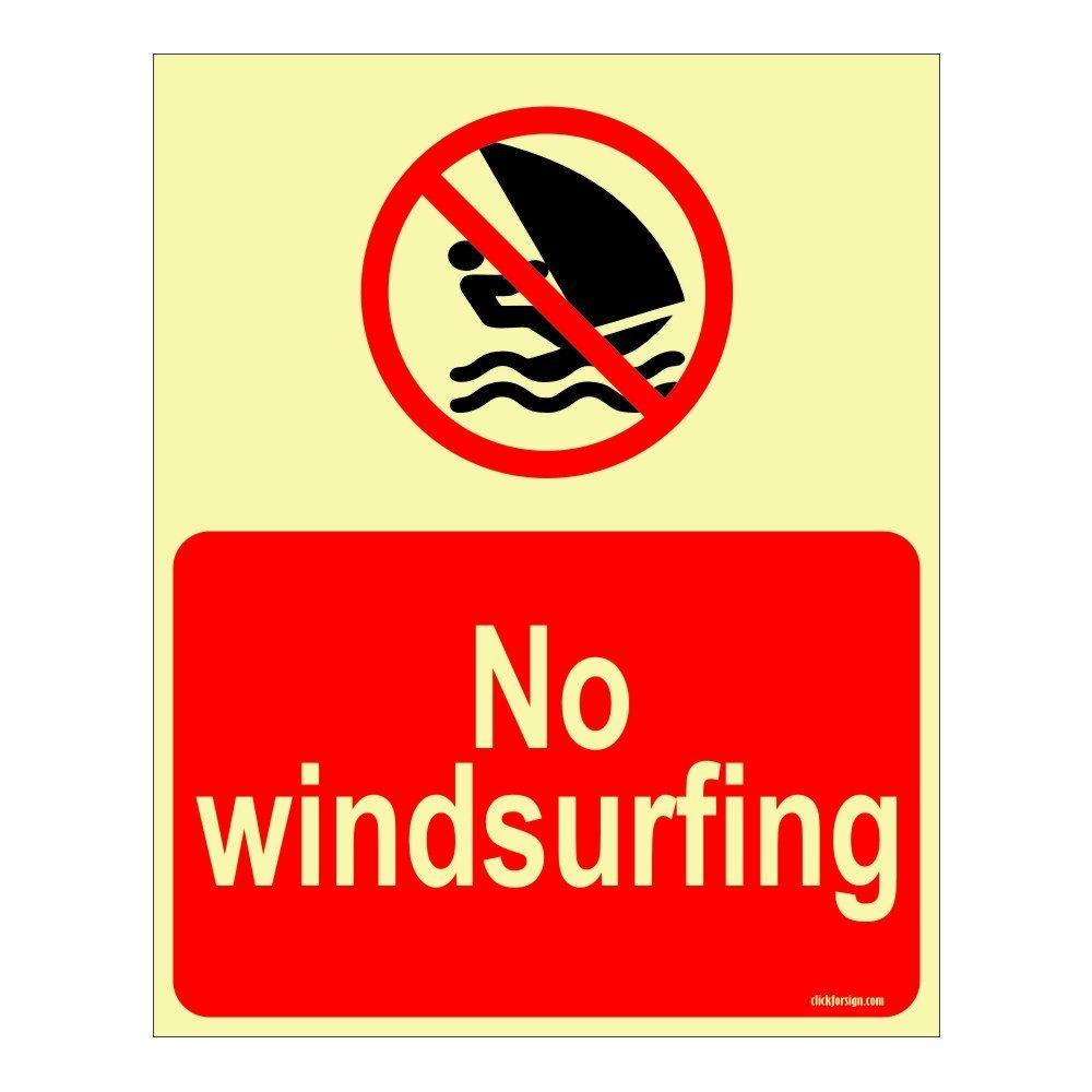 No Windsurfing Aqua Safety Sign Board