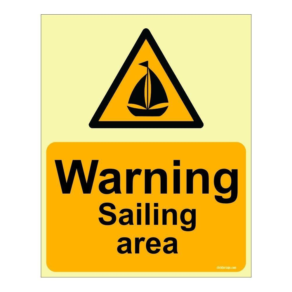 Warning Sailing Area Aqua Safety Sign Board (pack of 2)