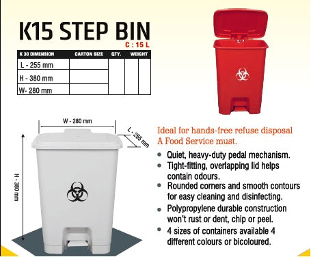 Handsfree pedalbin for Covid waste (15 liter)
