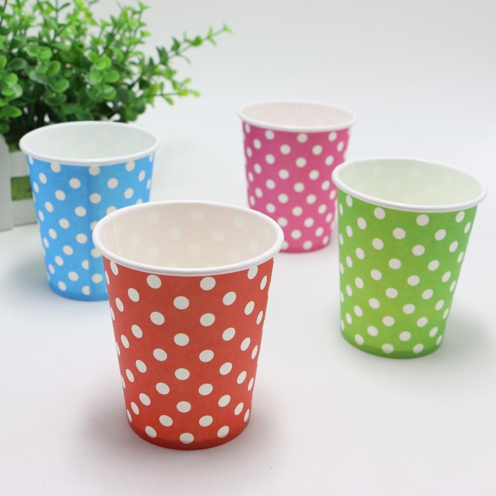 Disposable Dots Paper Cups 100pcs