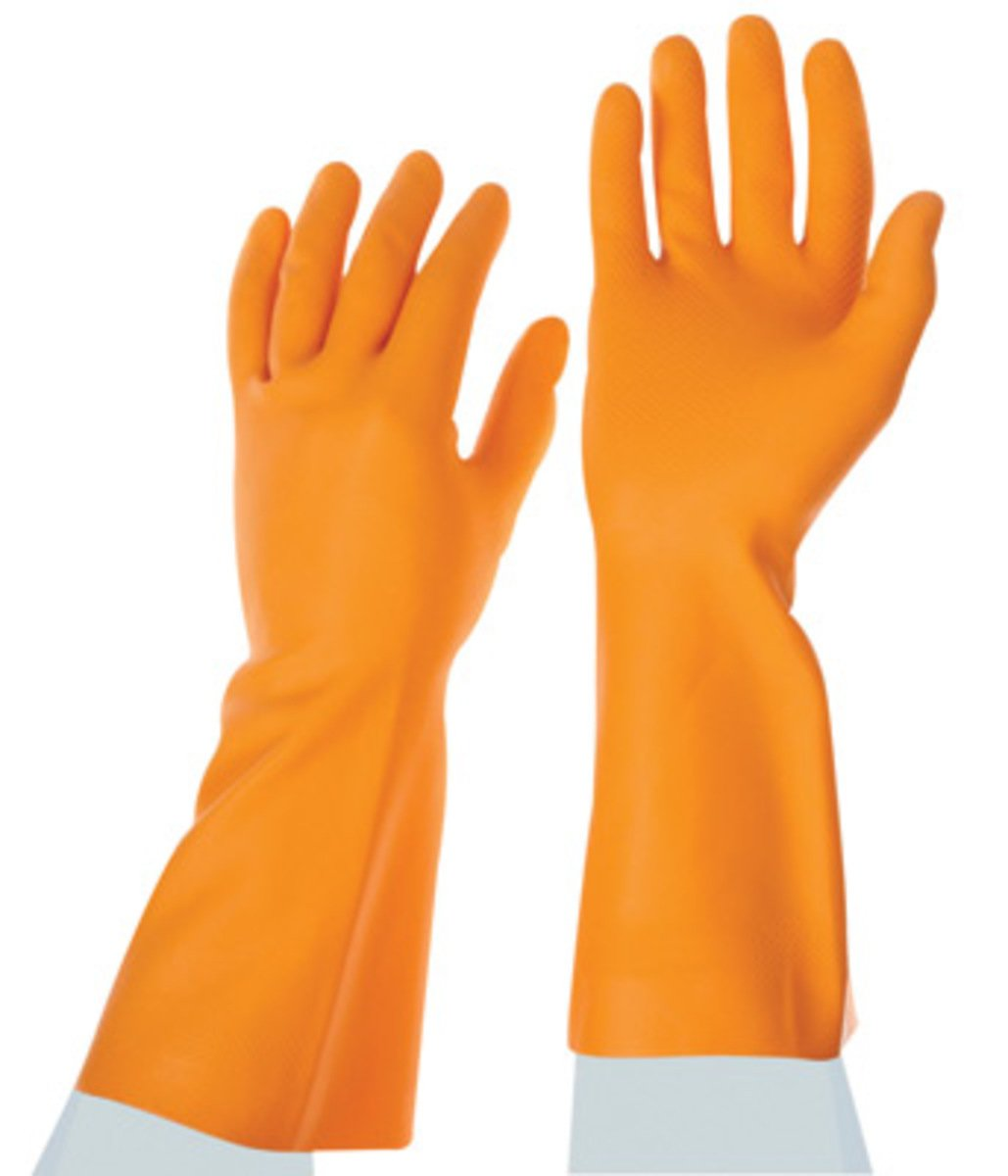 Orange Industrial Rubber Hand Gloves Heavy Duty