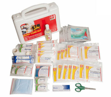 First Aid Burn Kit- Plastic Box Medium Handy- White - 44 components