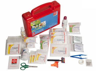 First Aid Pet Care Kit- Plastic Box Medium Handy- Red- 67 components
