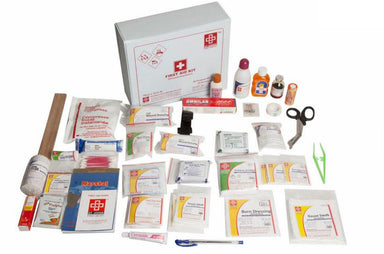 First Aid All purpose Kit Large - Vinyl Cardboard Box - 124 Components