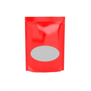 Shiny Red Stand Up Pouch With Oval Window 150gm