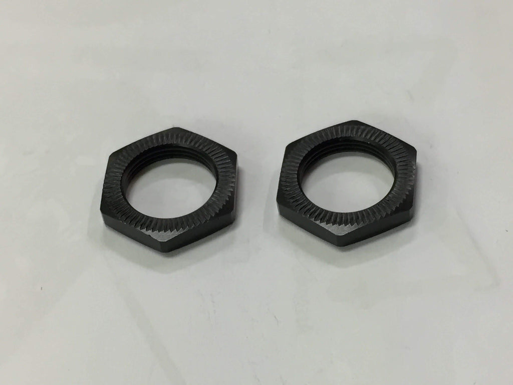 GS535 23mm Wheel Hex Nuts (2pcs,Ribbed,Matte Black) - Cen Racing USA
