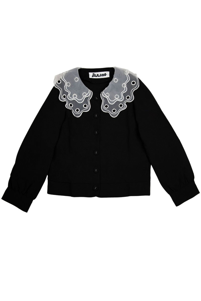 Oversize Lace Collar Black Blouse