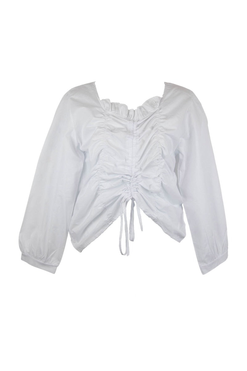 White Ruched Drawstring Puff Sleeve Blouse