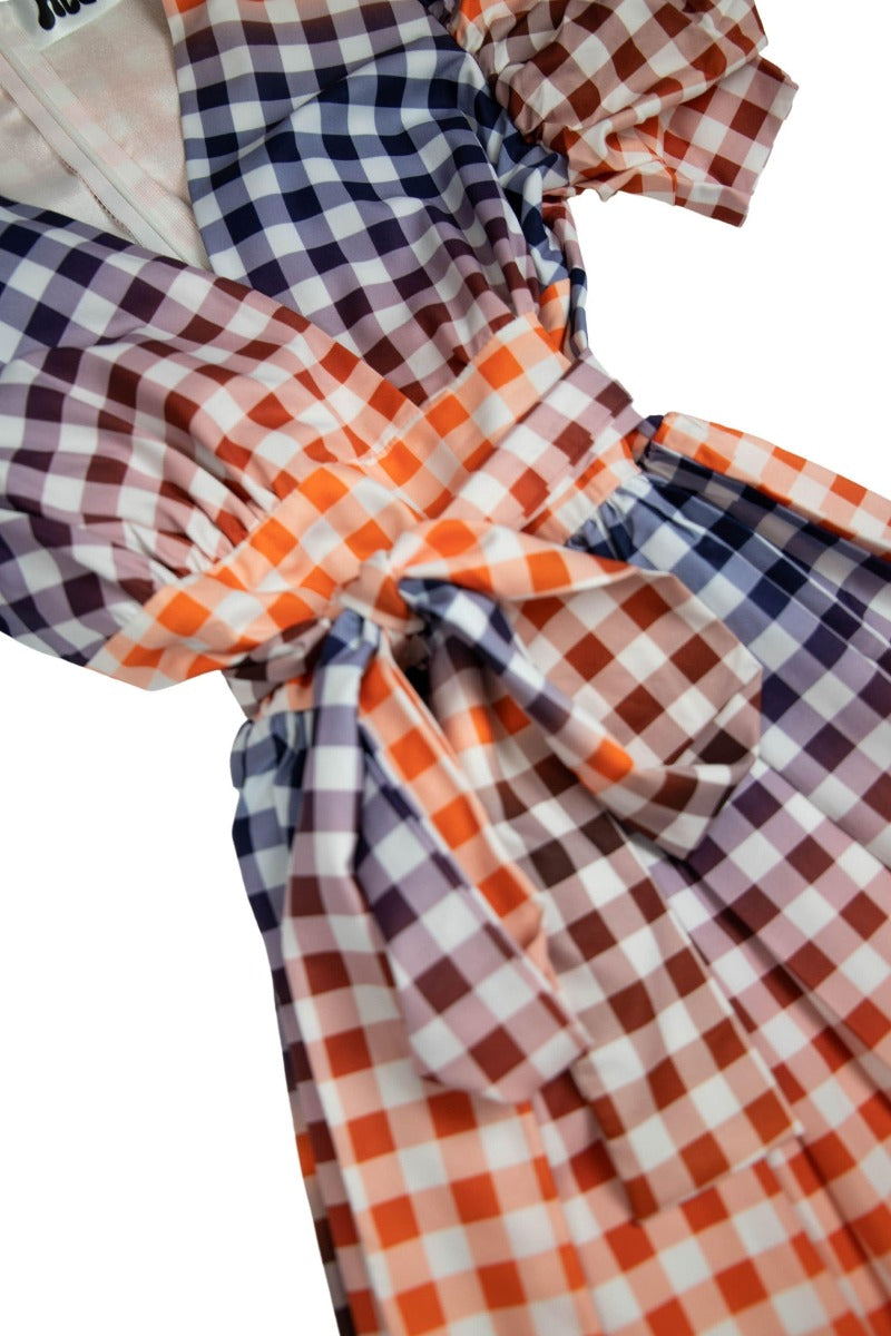 Orange Gingham Puff Sleeve Midi Dress