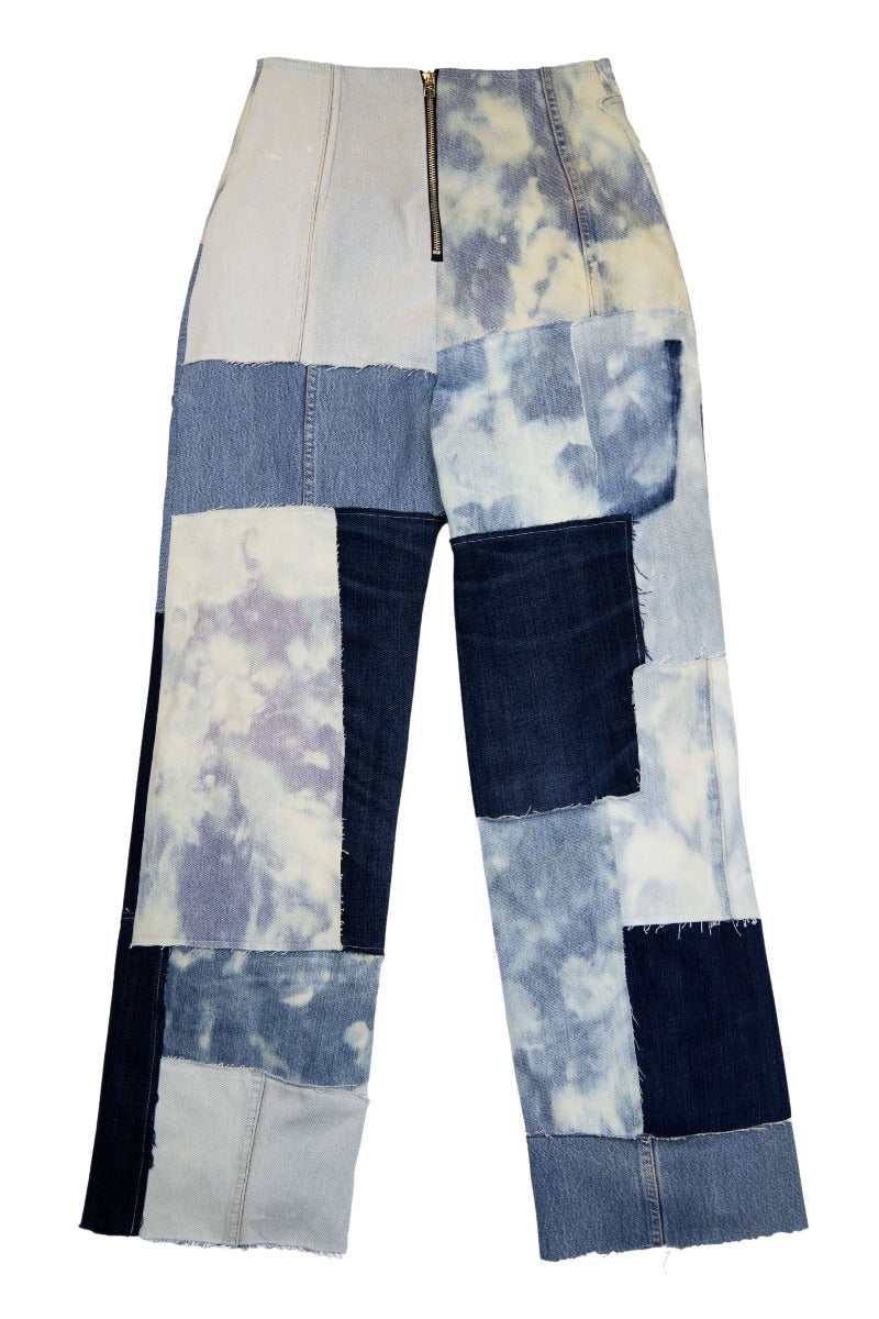 Reworked Denim Patchwork Reverse Jeans
