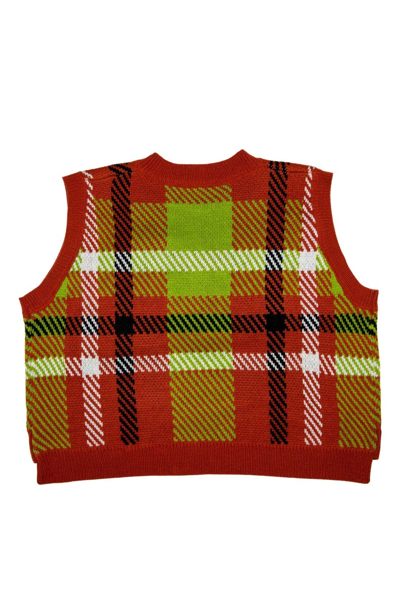 Red Check Knitted Vest