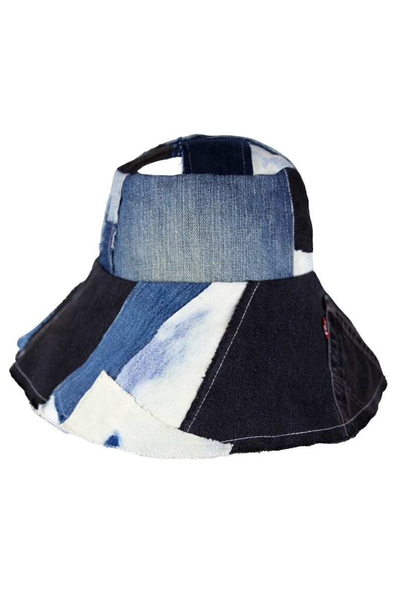 Reworked Denim Patchwork Wide Brim Bucket Hat